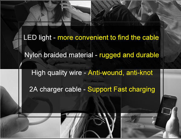 FAST Charger Cable For iPhone X 8 7 LED Lighting - Glowsery