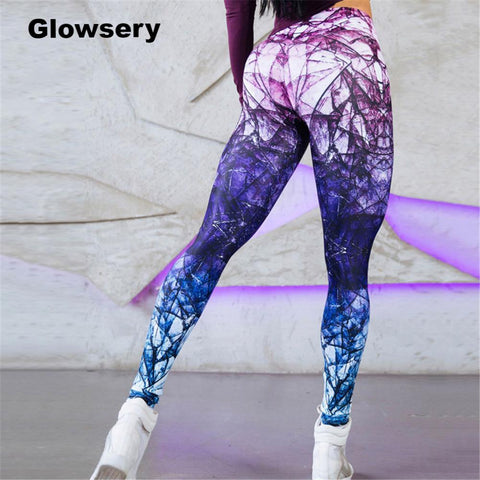 Colorful Woman Running Fitness Sport Leggings - Glowsery