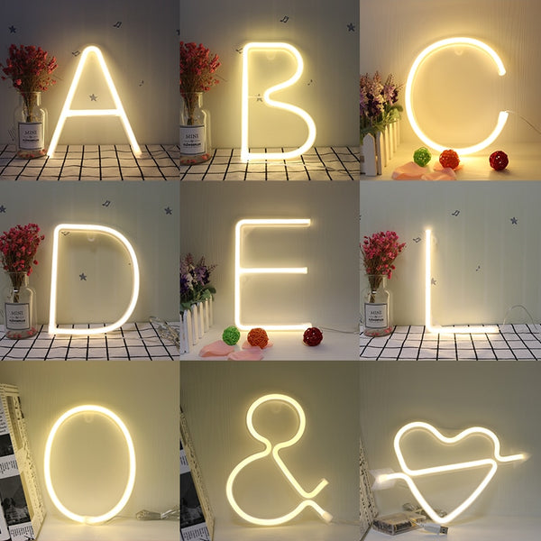 Neon Alphabet 26 Letters Wall Hanging Decor - Glowsery