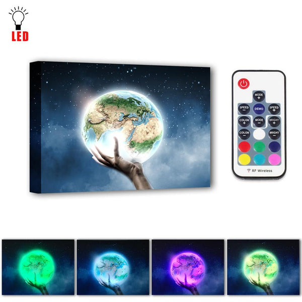 LED Hand Holding The Earth Picture - Glowsery