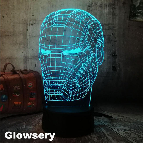 Cool 3D LED Iron Man Table Lamp - Glowsery