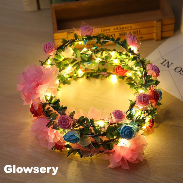 LED Light Rose Flower Crown - Glowsery