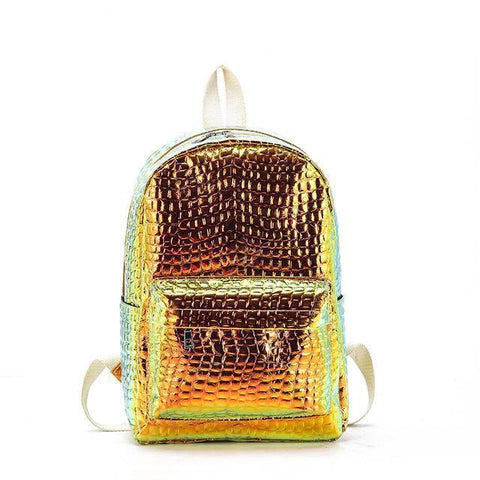 Crocodile Skin Style Glowing Backpack