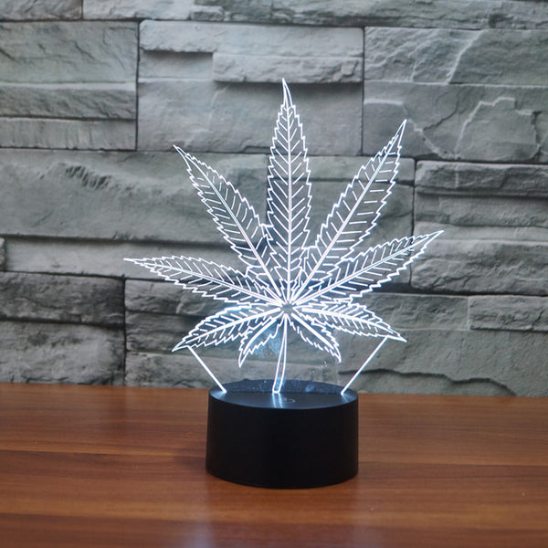 Weed Leaf 3D Visual Lamp - Glowsery