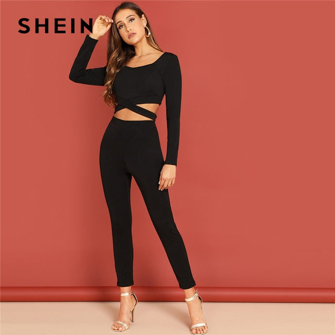 b540da3f72 SHEIN Black Casual Solid Cut Out Back Criss Cross Sweetheart Skinny Jumpsuit  Autumn Office Lady Workwear