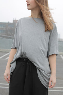 Cassandra Elizabeth - Grey Long T-Shirt Top