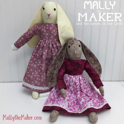 Ms Bunny doll sewing pattern | rabbit doll sewing pattern