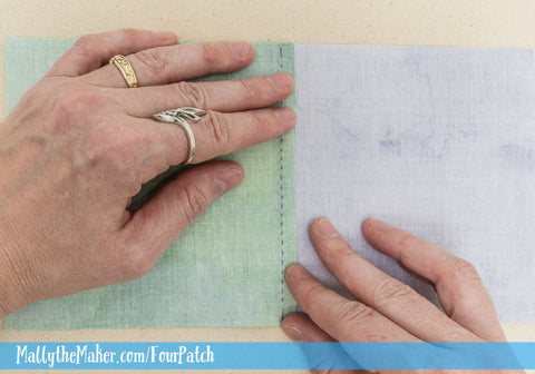How to hand Piece a 4 patch quilt block