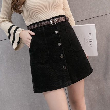 Button Up Skirt-Skirt-Air Halo Fashions