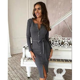 Buttoned Bodycon Dress-Dress-Air Halo Fashions