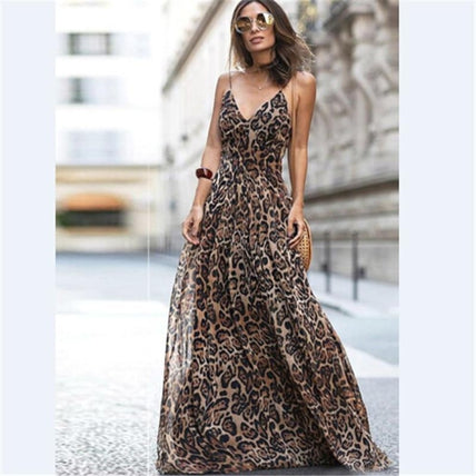 Cheetah Spaghetti Strap Maxi Dress-Dress-Air Halo Fashions