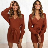 Faux Wrap Dress-Dress-Air Halo Fashions