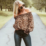 Leopard Off-Shoulder Top-Top-Air Halo Fashions