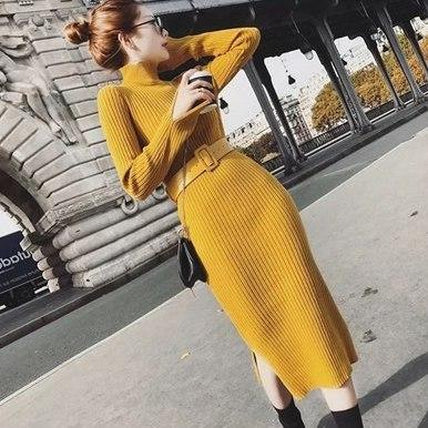 Midi Turtleneck Dress-Dress-Air Halo Fashions