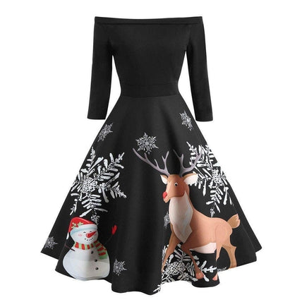 Off-Shoulder Retro Holiday Dress-Dress-Air Halo Fashions
