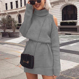 Open Shoulder Sweater Dress-Dress-Air Halo Fashions