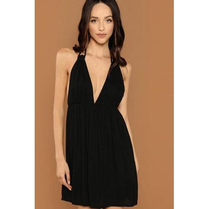 Plunge Halter Dress-Dress-Air Halo Fashions