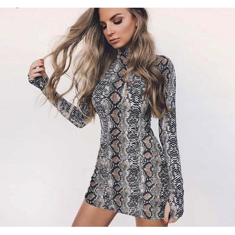 Python Bodycon Dress-Dress-Air Halo Fashions