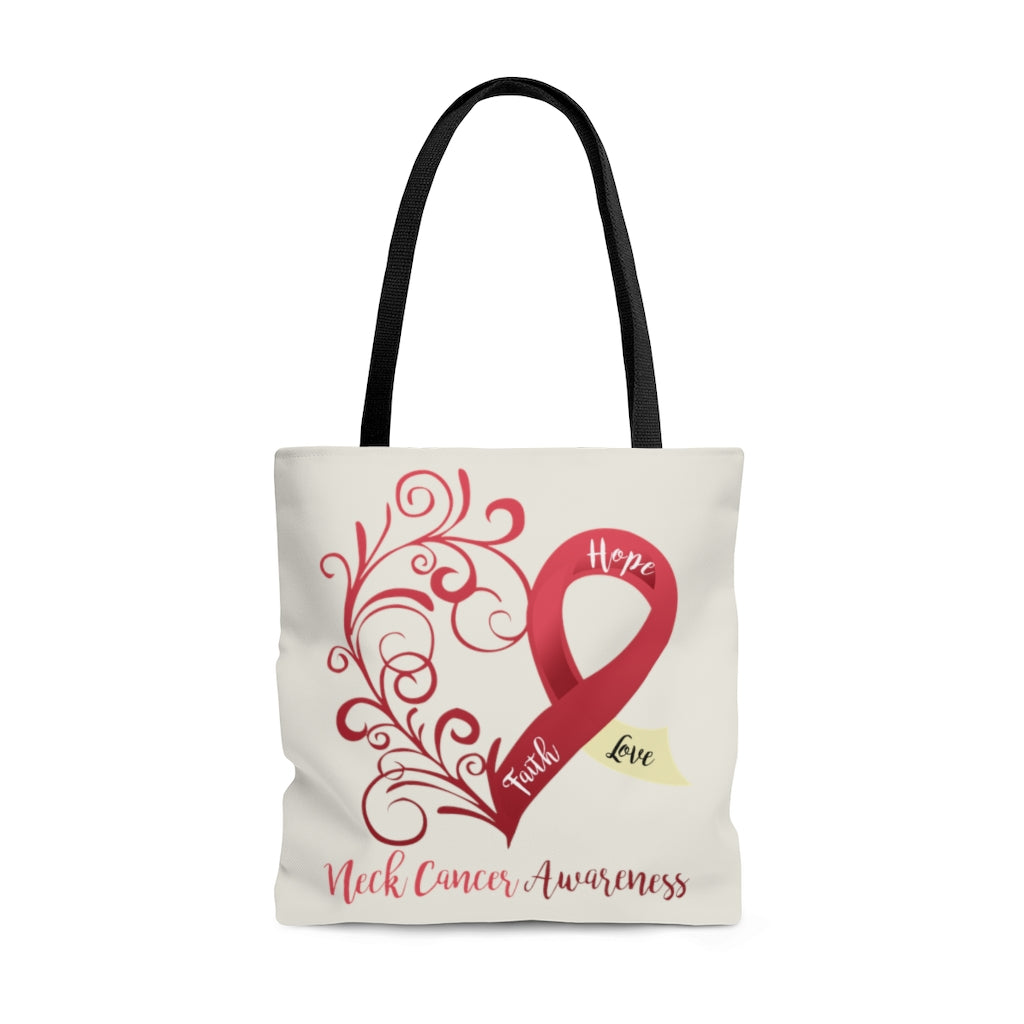 "Neck Cancer Awareness Large ""Natural"" Tote Bag (Dual Sided Design)"
