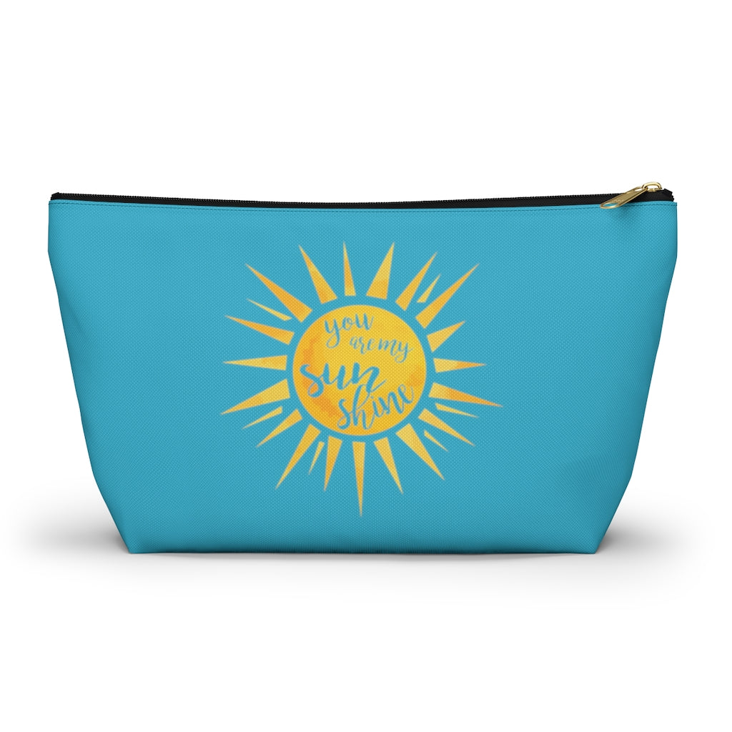 You Are My Sunshine Large Aqua T-Bottom Accessory Pouch (Dual-Sided Design)