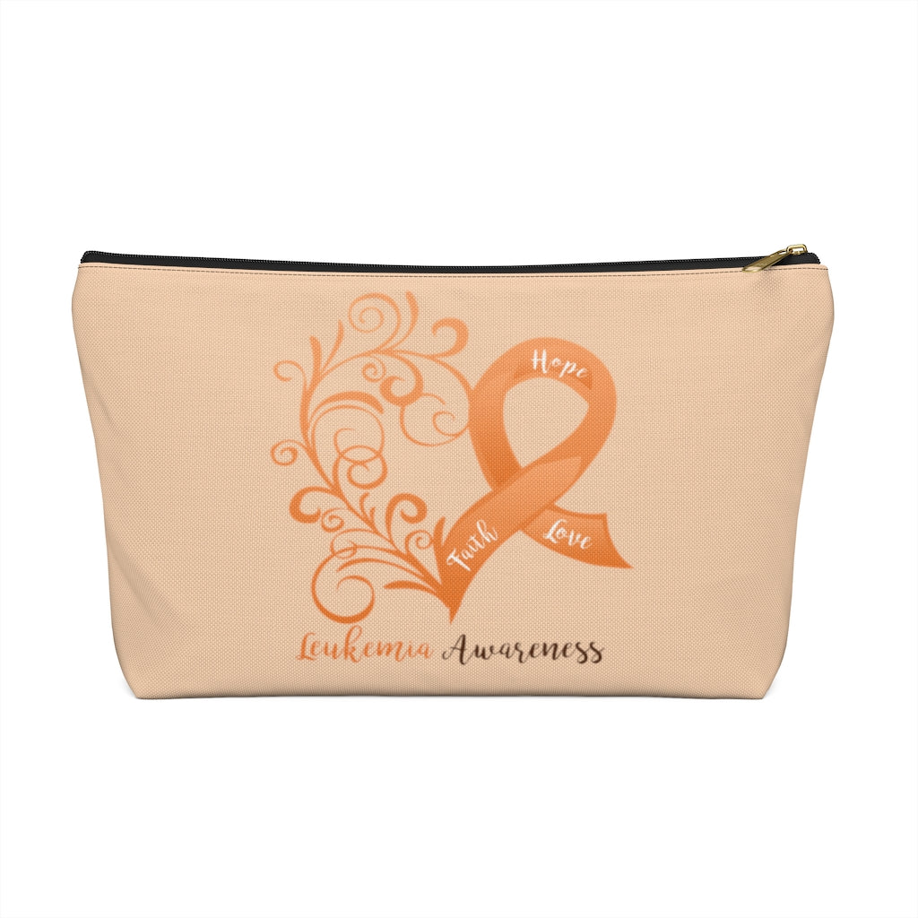 Leukemia Awareness Large T-Bottom Accessory Pouch (Dual-Sided Design)