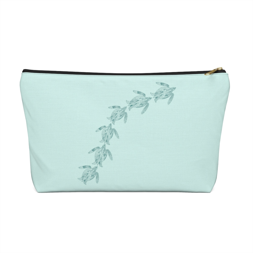 "Swimming Sea Turtles Large ""Light Teal"" T-Bottom Accessory Pouch (Dual-Sided Design)"
