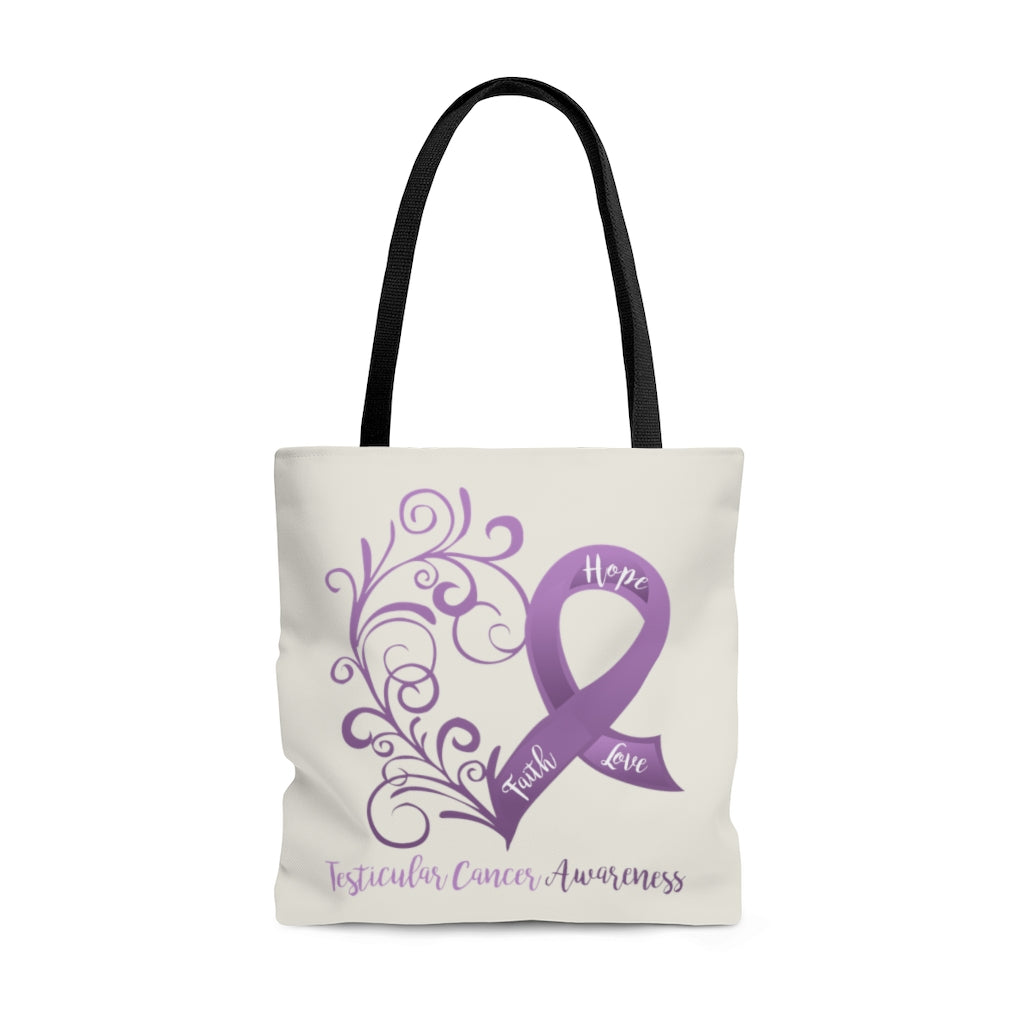 "Testicular Cancer Awareness Large ""Natural"" Tote Bag (Dual-Sided Design)"