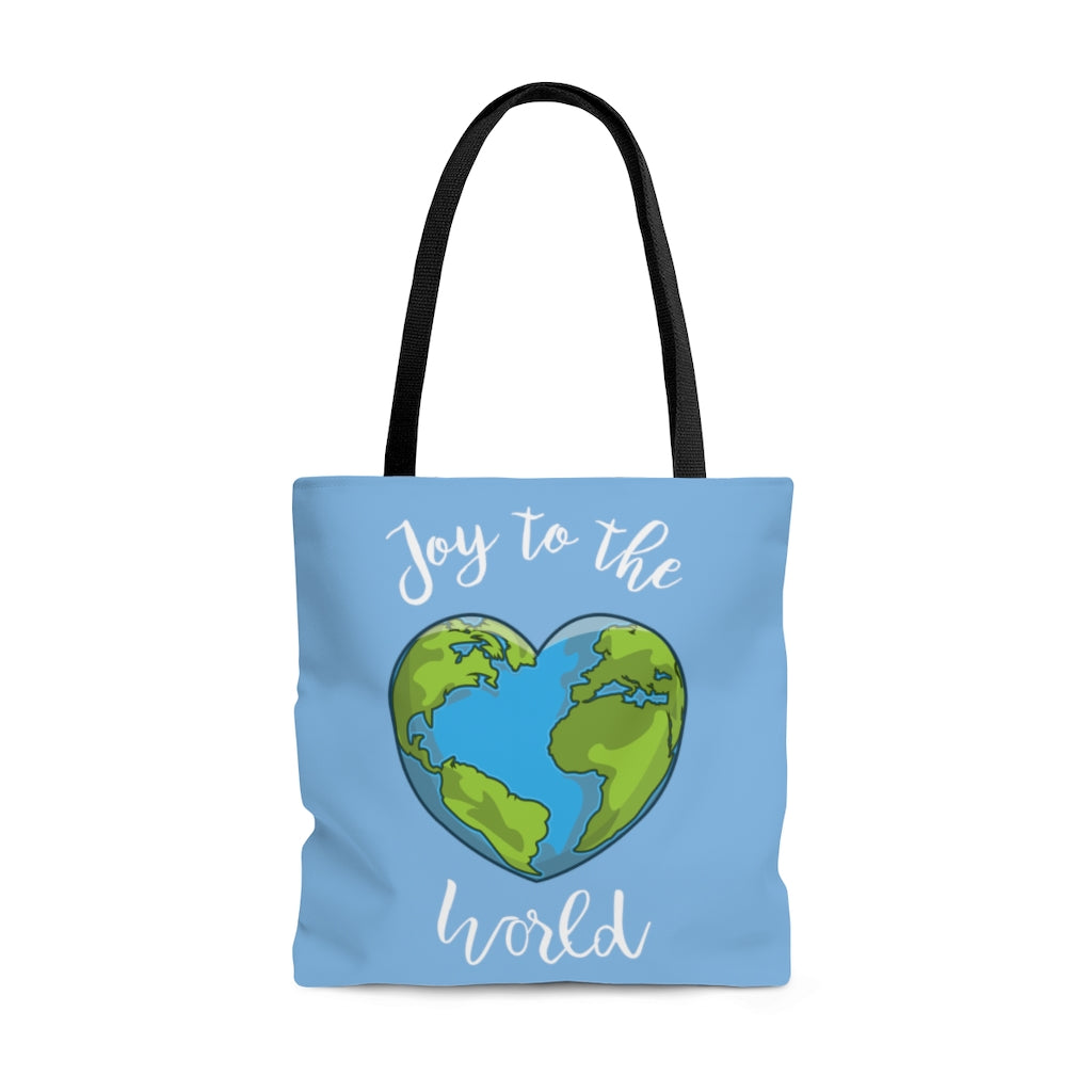 Joy to the World Light Blue Tote Bag (Dual-Sided Design)