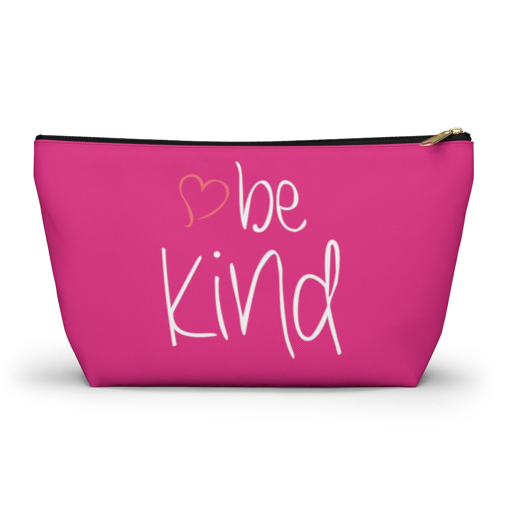 "be kind Heart Large ""Raspberry"" T-Bottom Accessory Pouch (Dual-Sided Design)"
