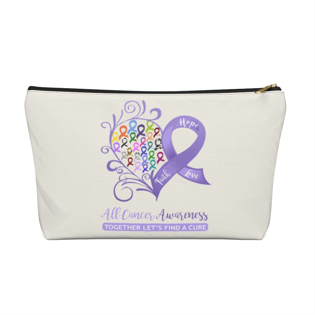 "All Cancer Awareness Heart Large ""Natural"" T-Bottom Accessory Pouch (Dual-Sided Design)"