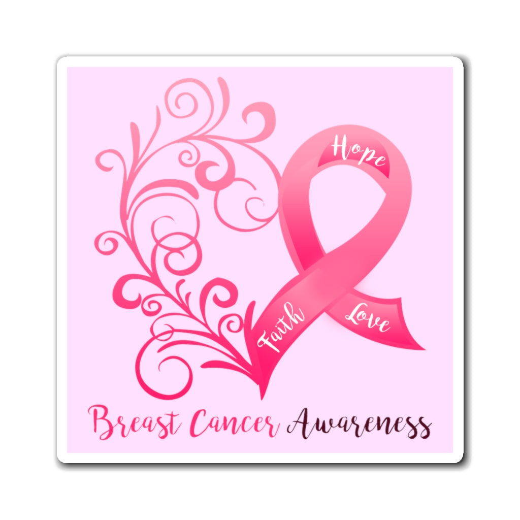 Breast Cancer Awareness Magnet (Pink Background) (3 Sizes Available)