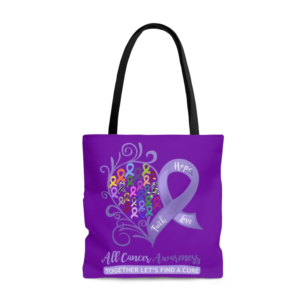 All Cancer Awareness Heart Large Dark Purple Tote Bag (Dual-Sided Design)