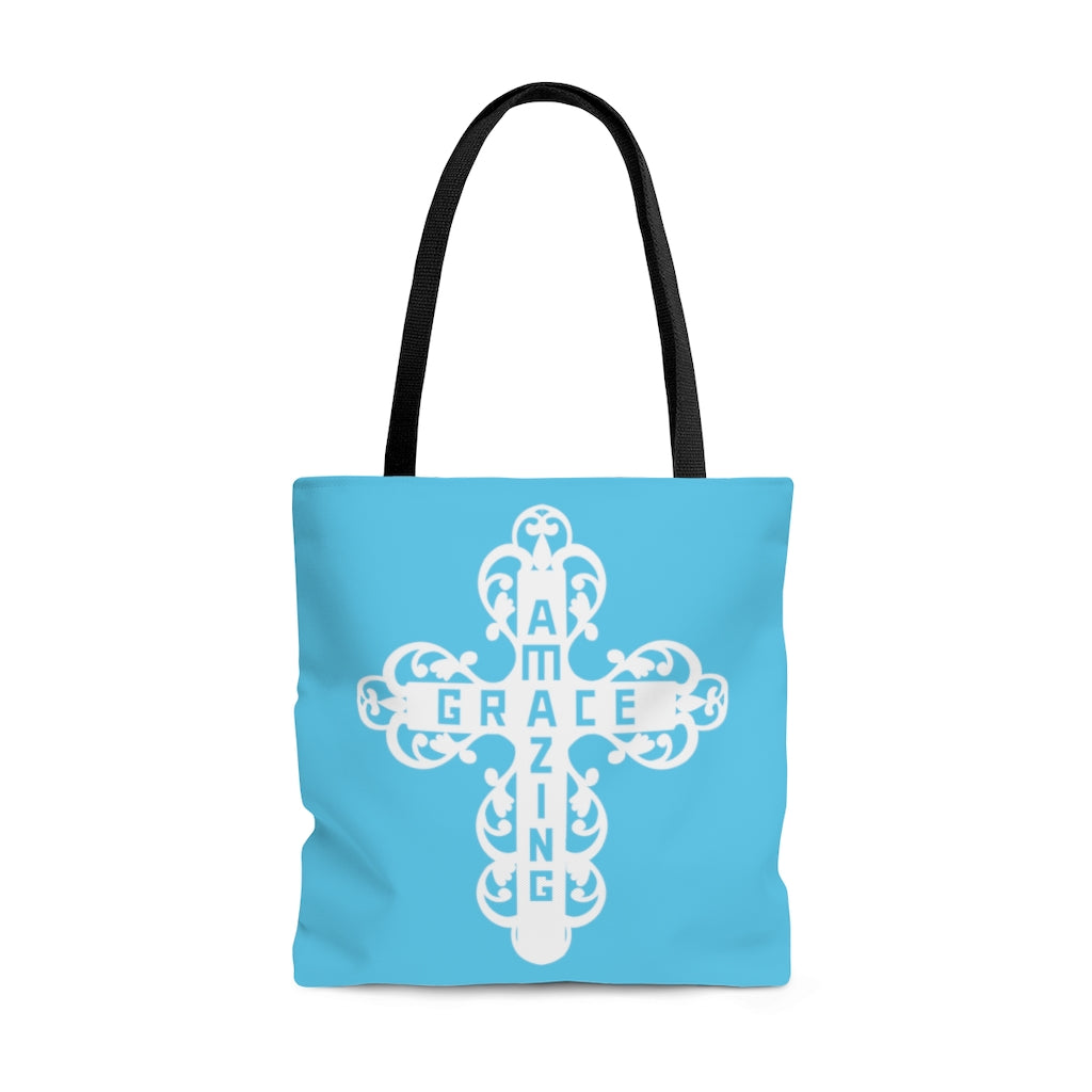 Amazing Grace Filigree Cross Large Aqua Tote Bag (Dual-Sided Design)
