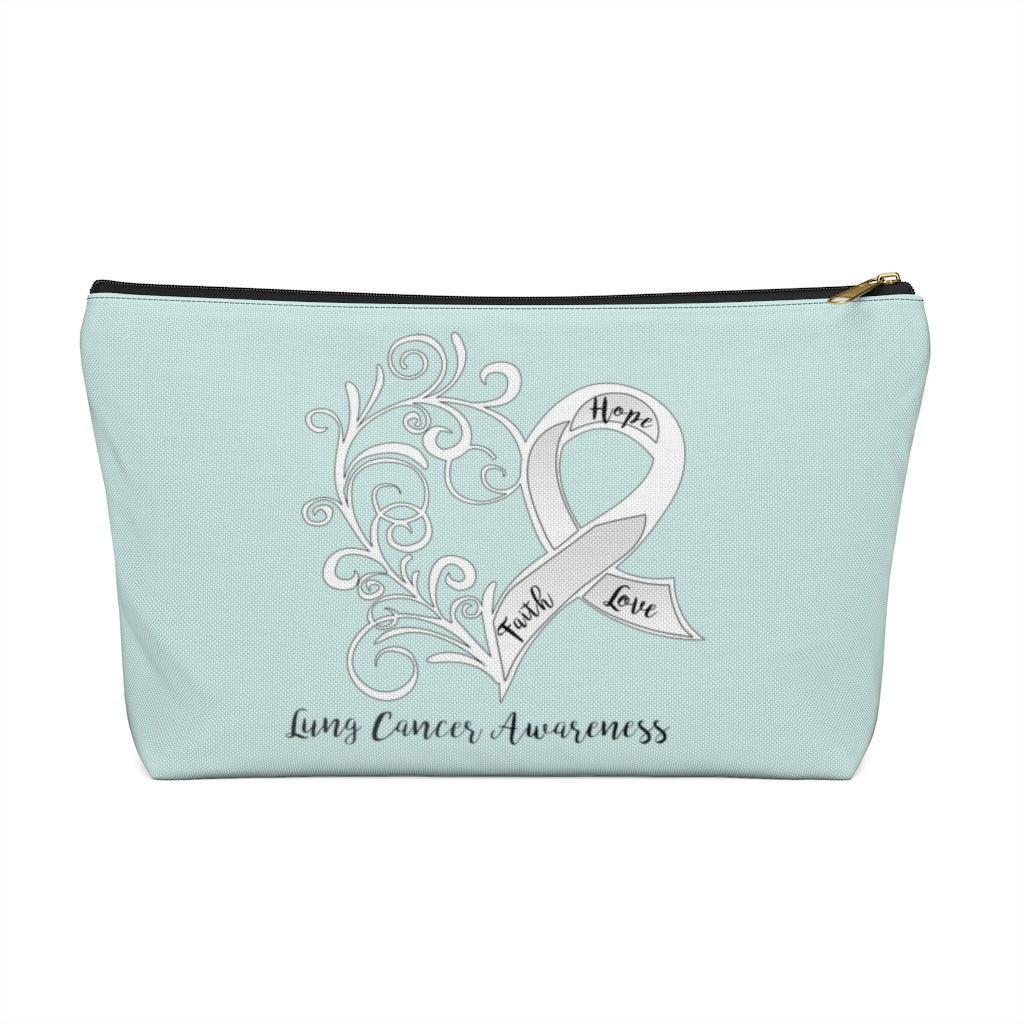 Lung Cancer Awareness Large T-Bottom Accessory Pouch (Dual-Sided Design)