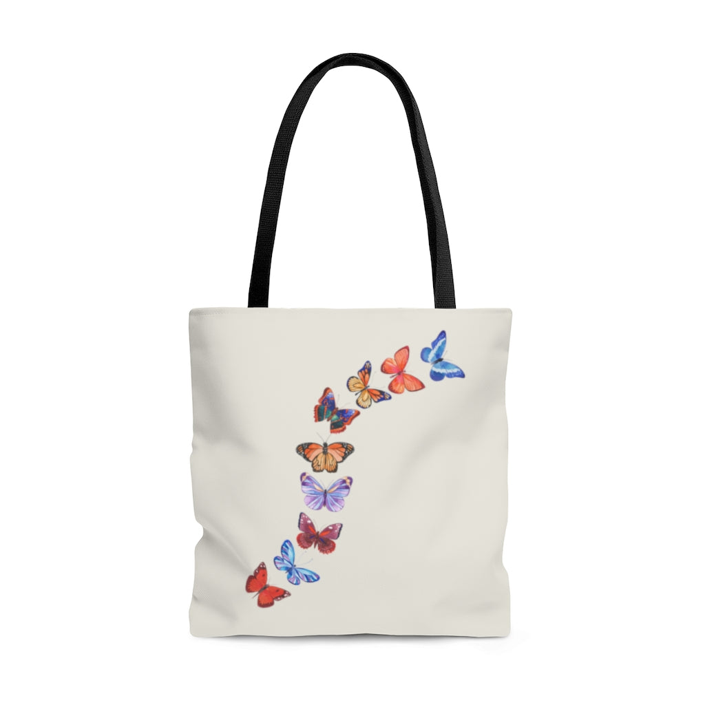 "Butterflies in Flight Large ""Natural"" Tote Bag (Dual-Sided Design)"