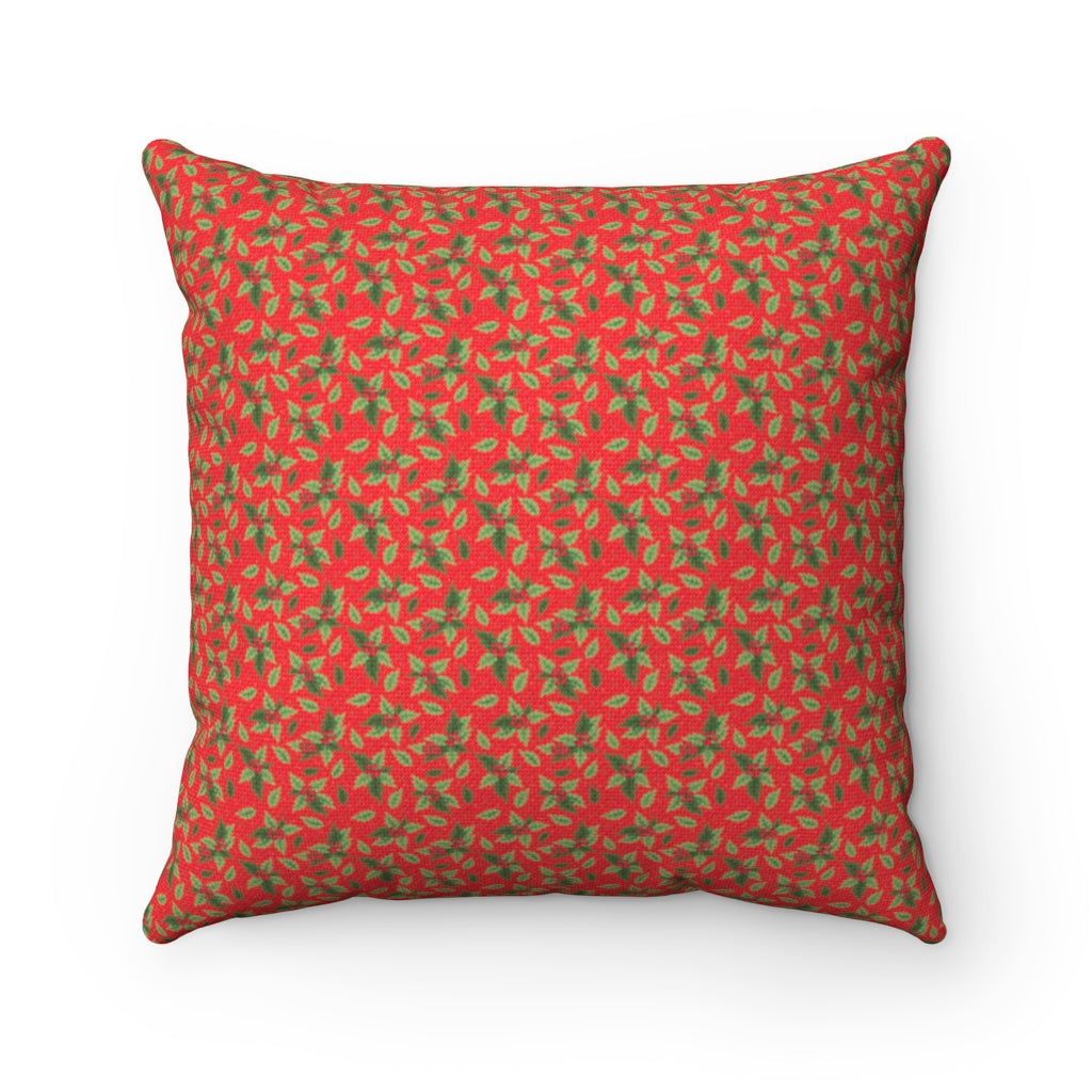 Christmas Holly Holiday Red Square Pillow (20 X 20) (Dual-Sided)