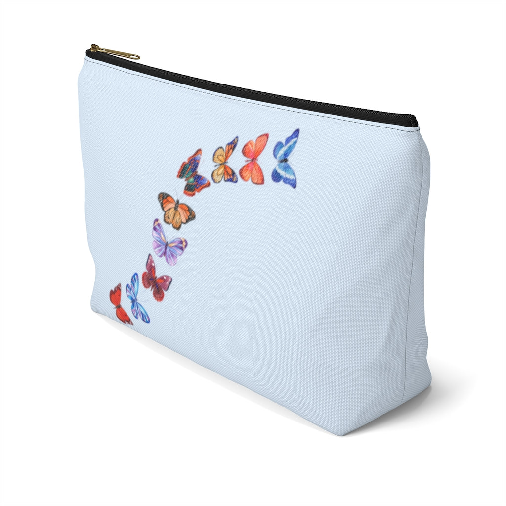 "Butterflies in Flight Large ""Light Blue"" T-Bottom Accessory Pouch (Dual-Sided Design)"