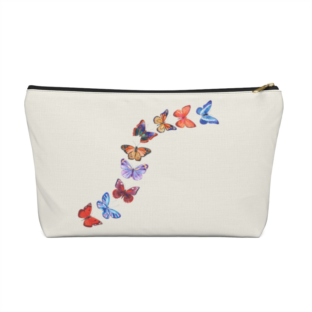 "Butterflies in Flight Large ""Natural"" T-Bottom Accessory Pouch (Dual-Sided Design)"