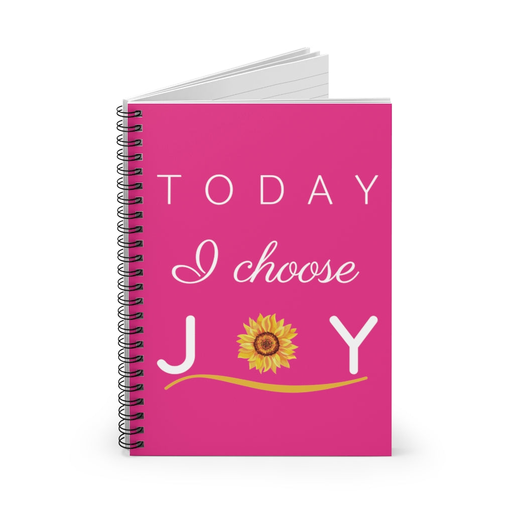 """Today I Choose Joy"" Raspberry Spiral Journal - Ruled Line"