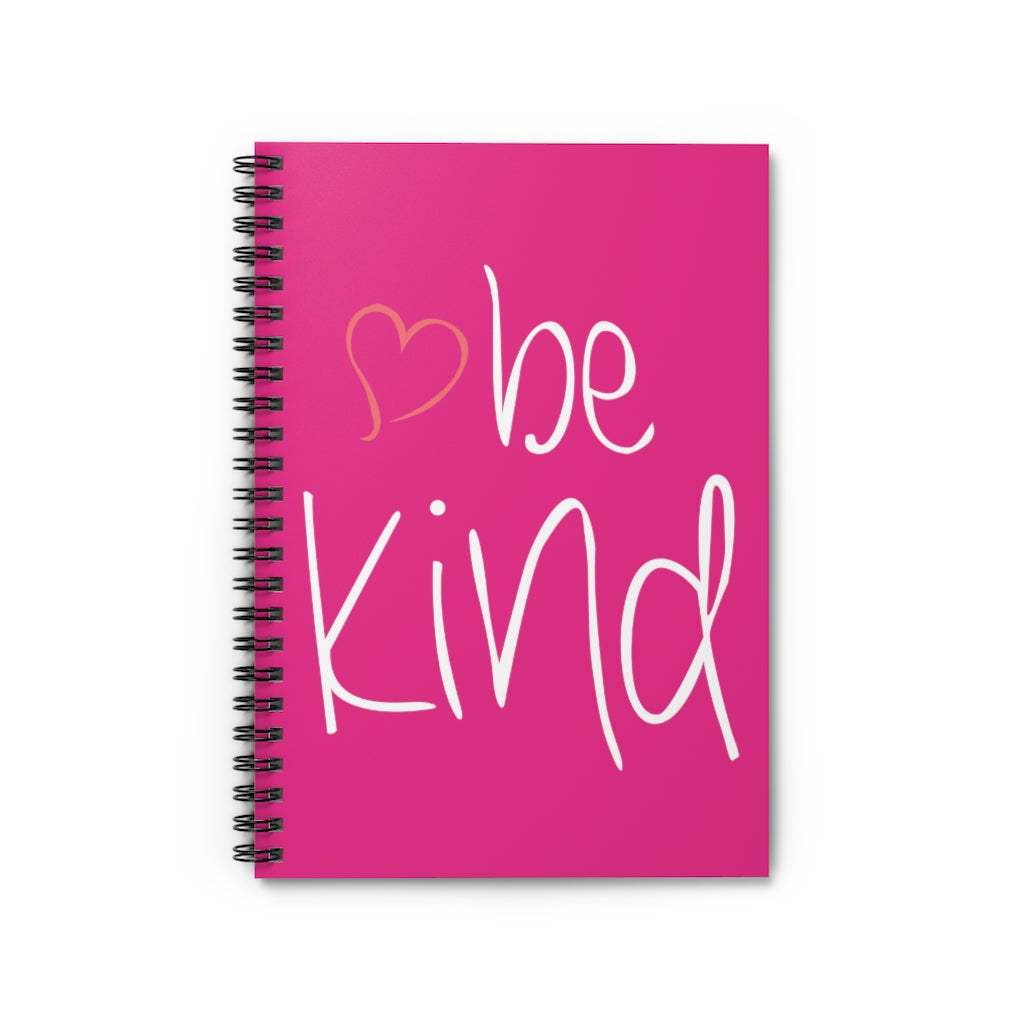 be kind Heart Raspberry Spiral Journal - Ruled Line
