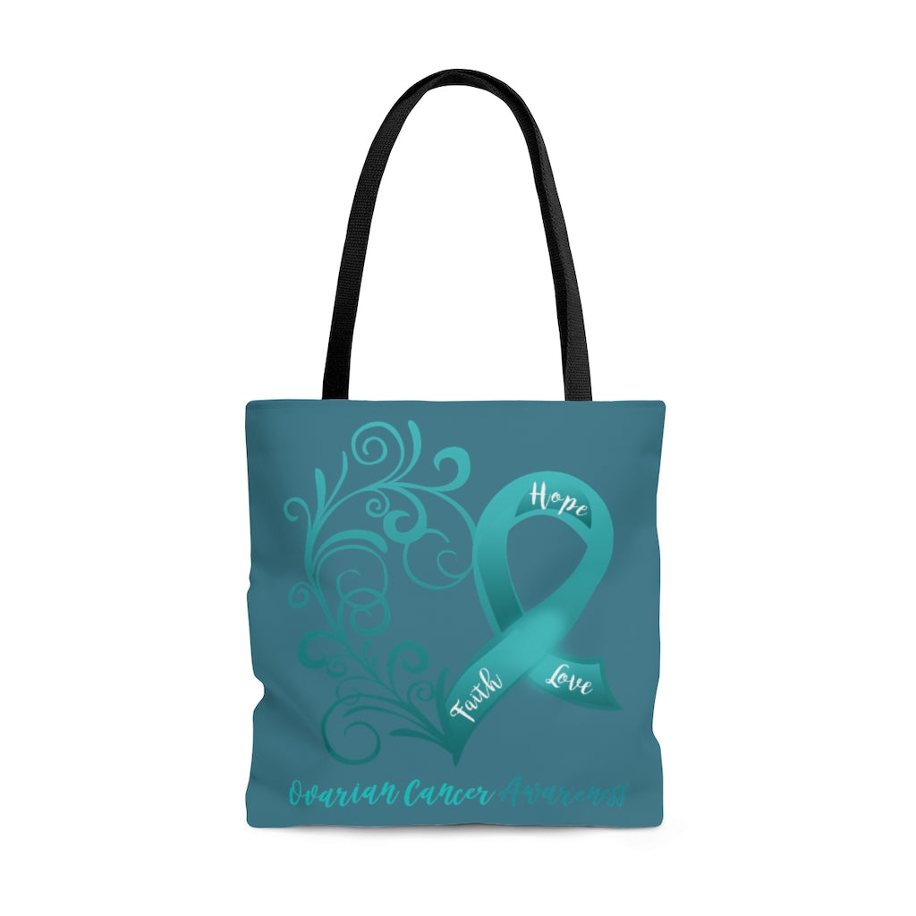 "Ovarian Cancer Awareness Large ""Dark Teal"" Tote Bag (Dual-Sided Design)"