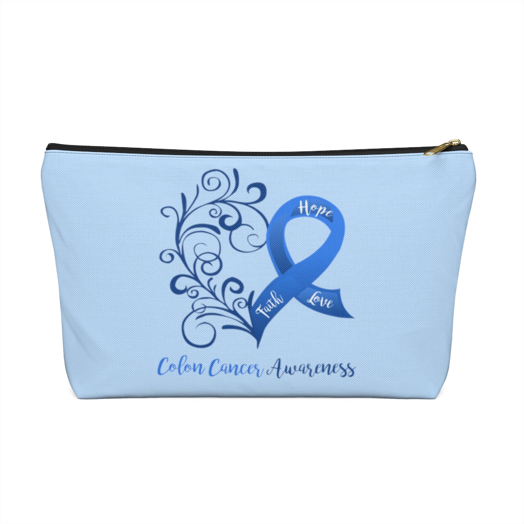 Colon Cancer Awareness Large T-Bottom Accessory Pouch (Dual-Sided Design)