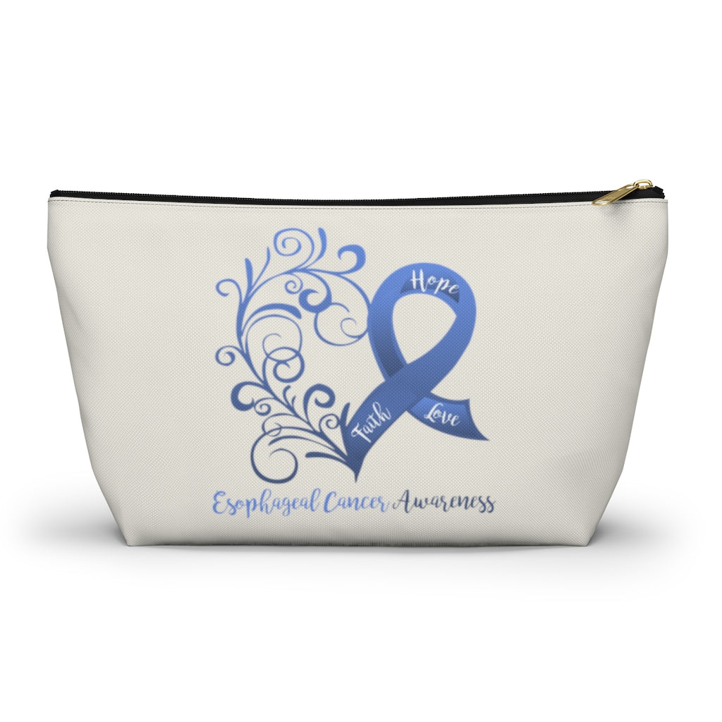 "Esophageal Cancer Awareness Large ""Natural"" T-Bottom Accessory Pouch (Dual-Sided Design)"