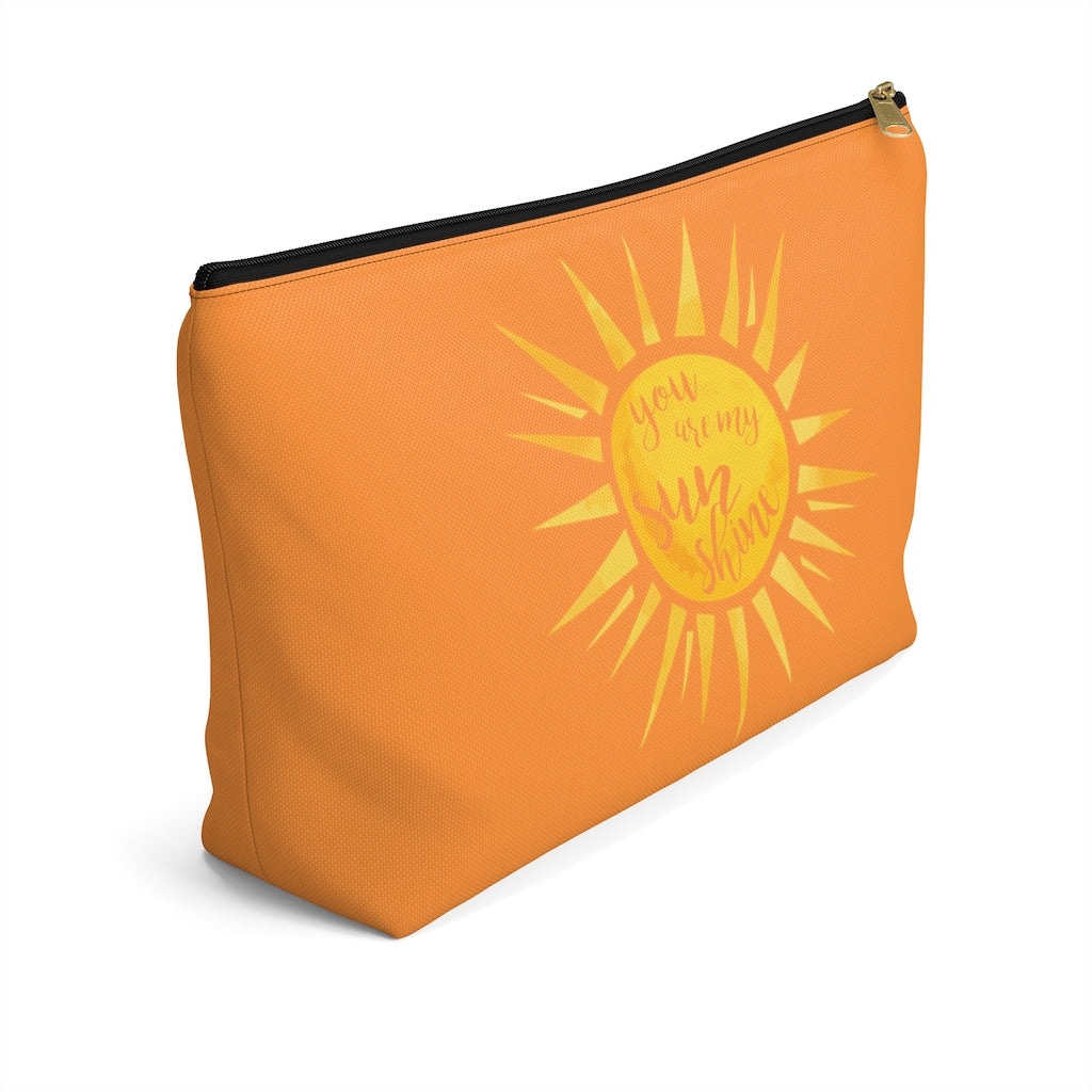You Are My Sunshine Large Orange T-Bottom Accessory Pouch (Dual-Sided Design)