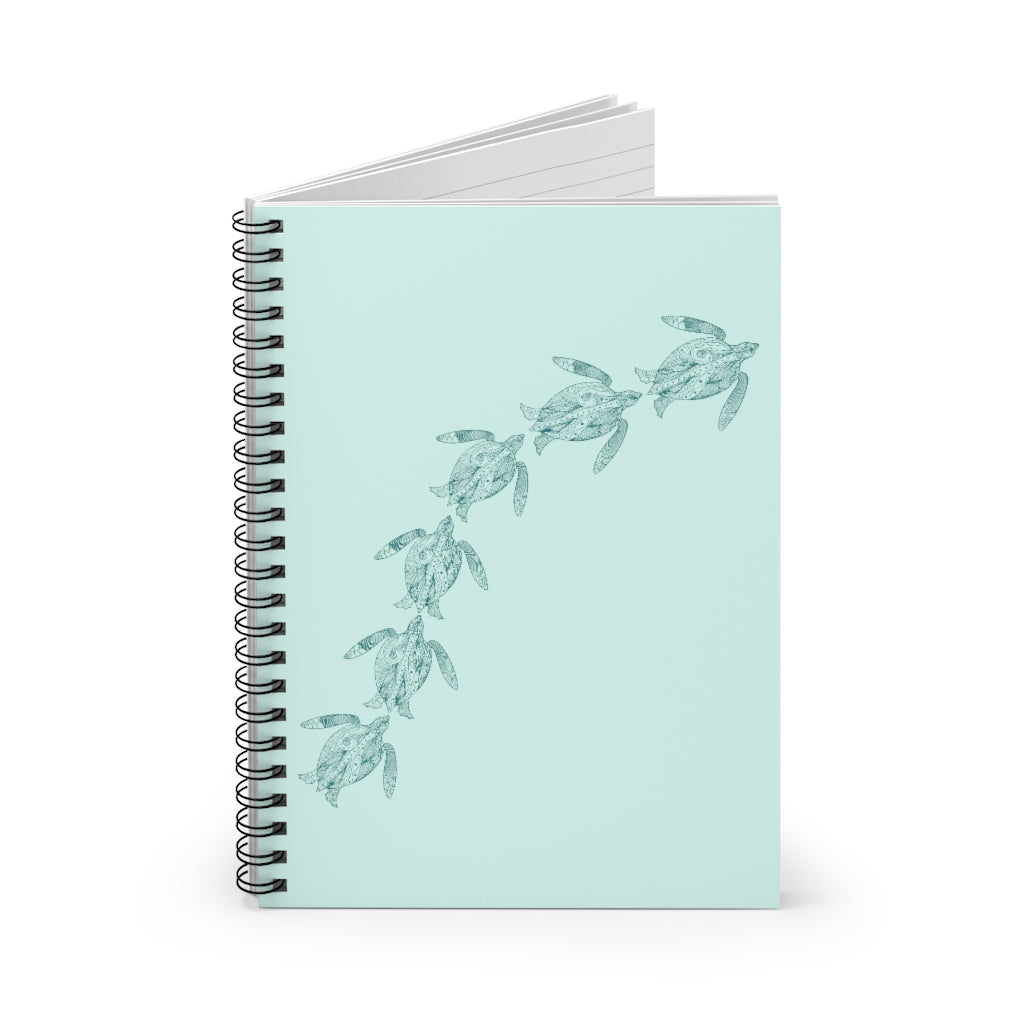 Swimming Sea Turtles Light Teal Spiral Journal - Ruled Line