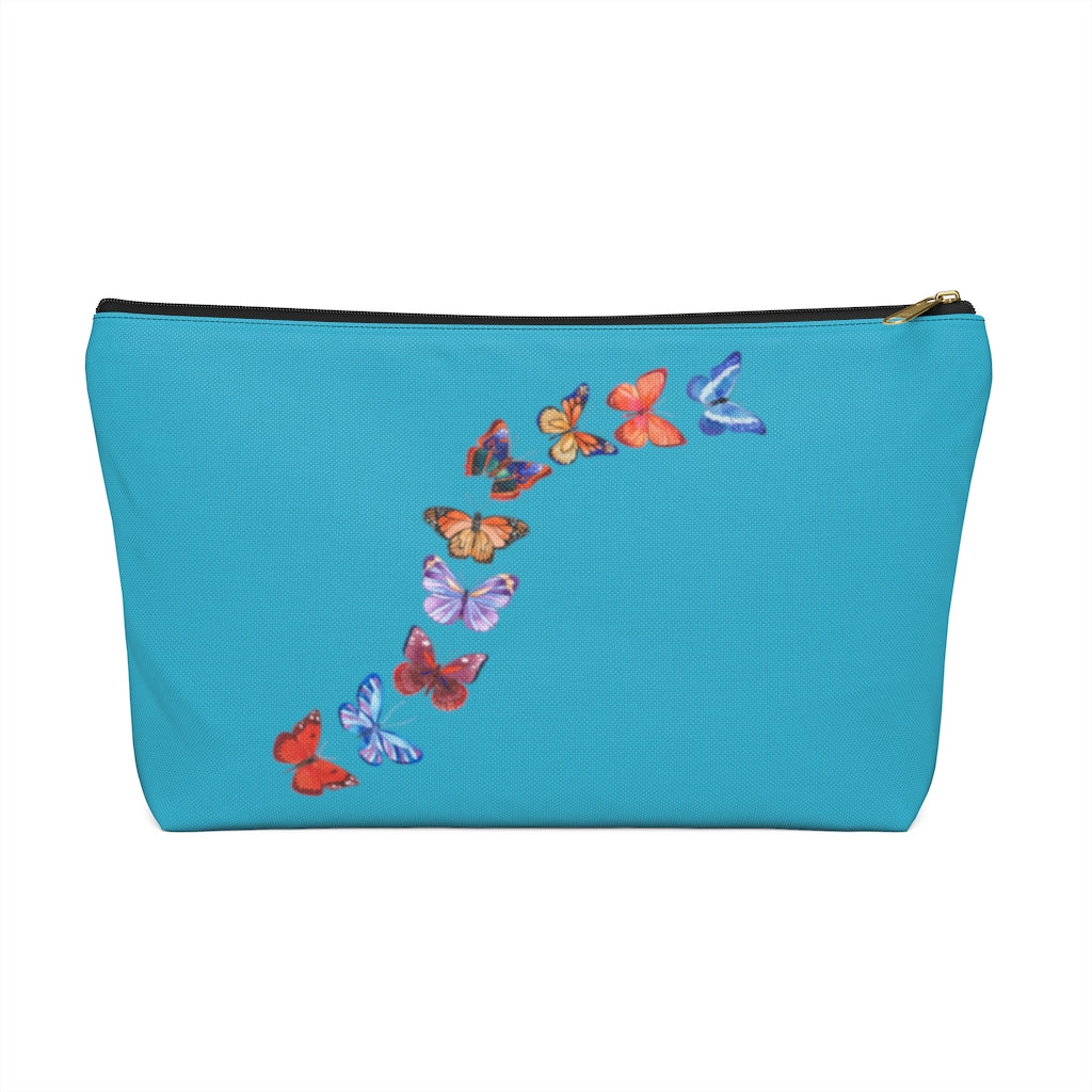 "Butterflies in Flight Large ""Aqua"" T-Bottom Accessory Pouch (Dual-Sided Design)"