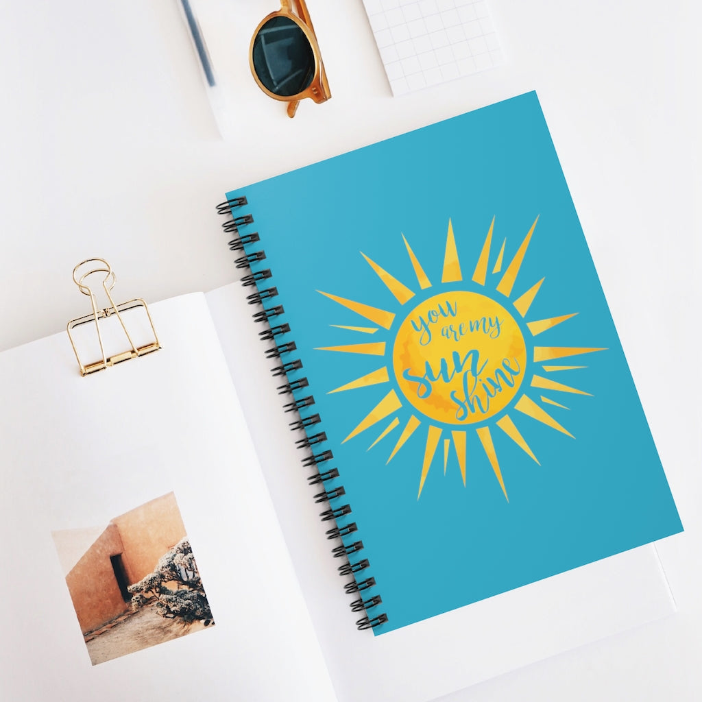 You Are My Sunshine Aqua Spiral Journal - Ruled Line