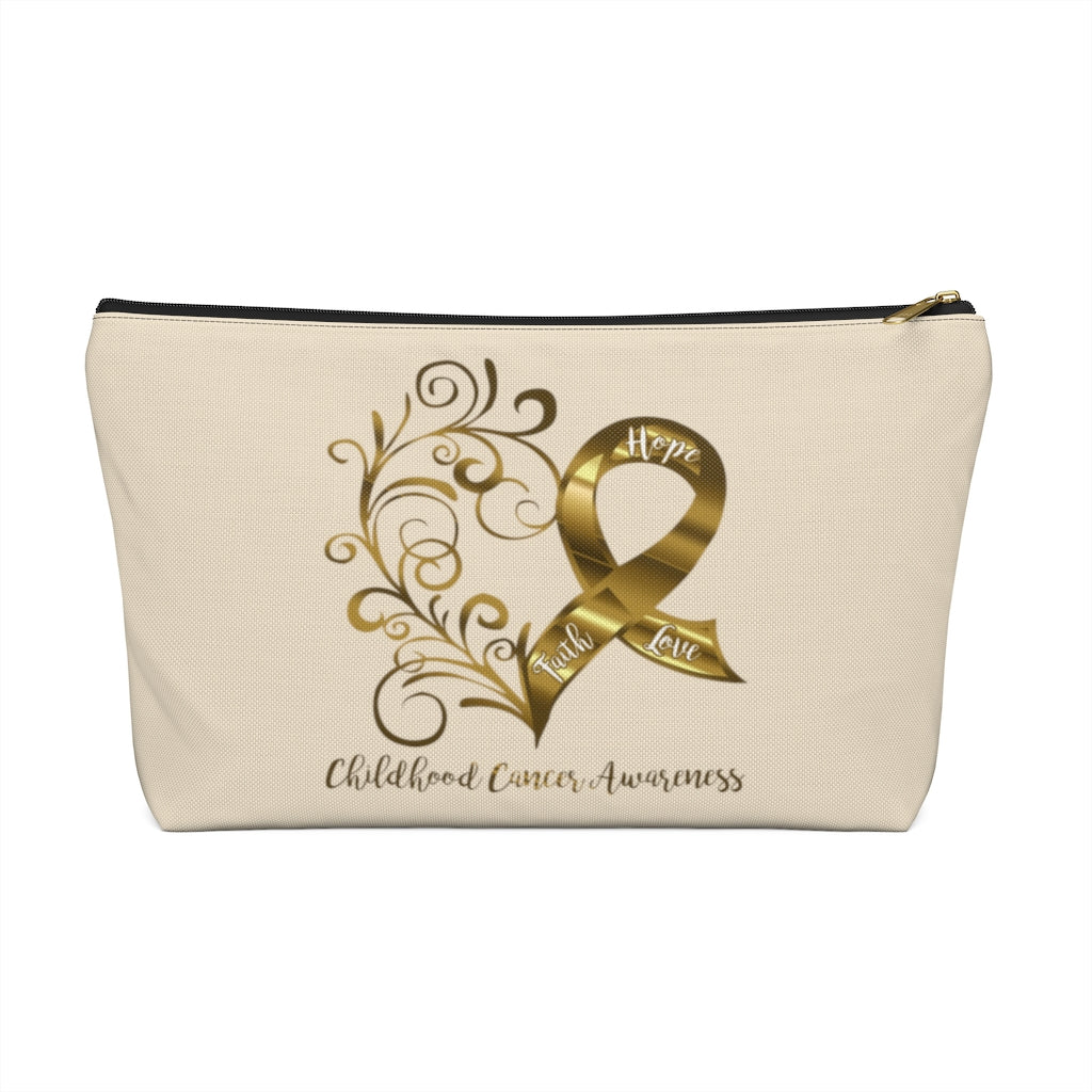 Childhood Cancer Awareness Large T-Bottom Accessory Pouch (Dual-Sided Design)