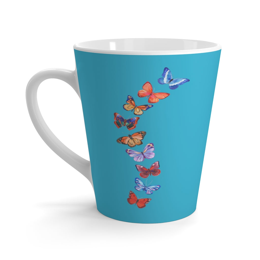 Butterflies in Flight Aqua Latte Mug (12 oz.)