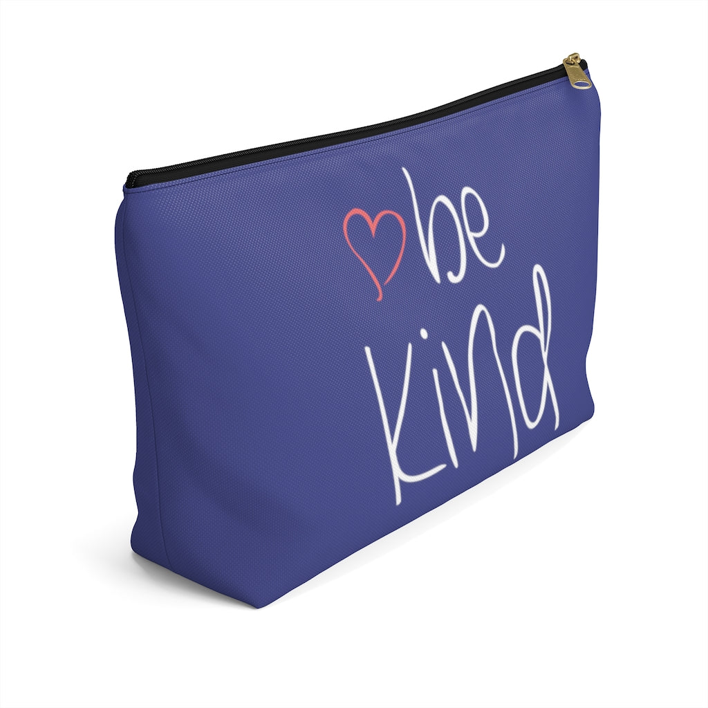 "be kind Heart Large ""Navy"" T-Bottom Accessory Pouch (Dual-Sided Design)"